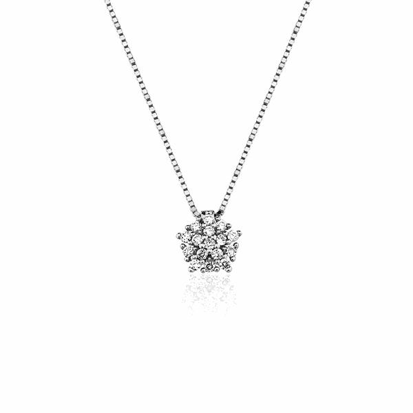 Gargantilha Ouro Branco 18K Buquê Pedras de Diamante Pequeno