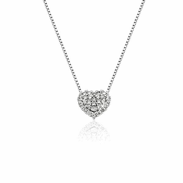 Gargantilha Coração de Brilhantes em Ouro Branco 18K
