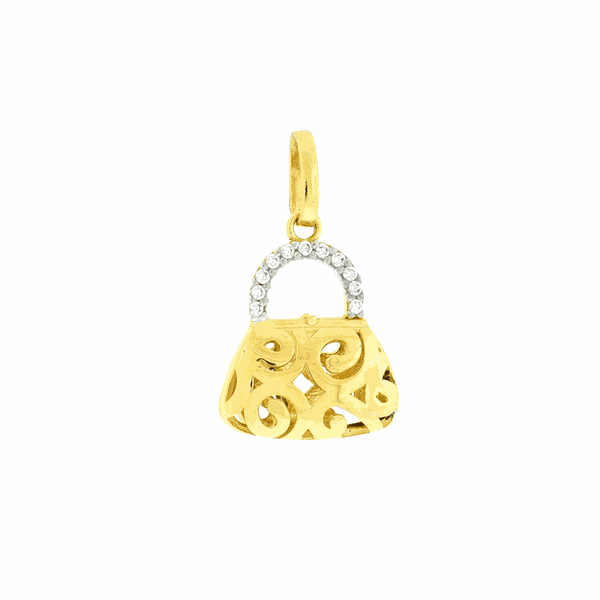 Pingente de Bolsa Ouro 18K com Zirconias