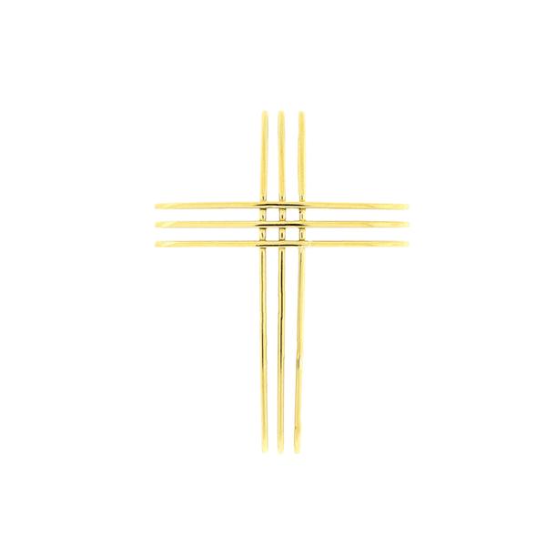 Pingente de Ouro 18K Cruz em 3 Filetes
