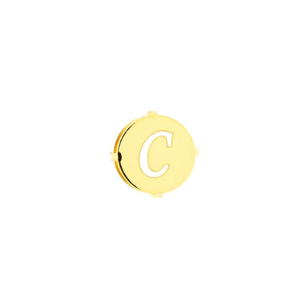 Pingente de Ouro 18K Letra C Redondo