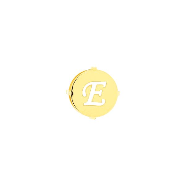 Pingente de Ouro 18K Letra E Redondo