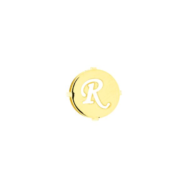 Pingente de Ouro 18K Letra R Redondo
