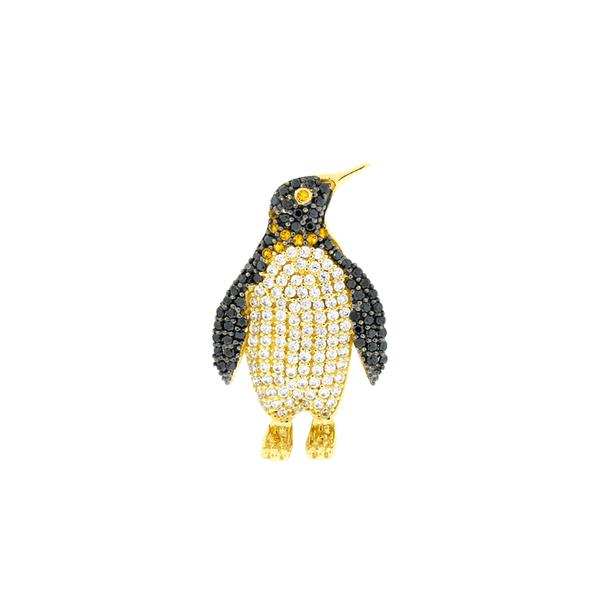 Pingente Pinguim de Ouro 18K com Zirconias Coloridas