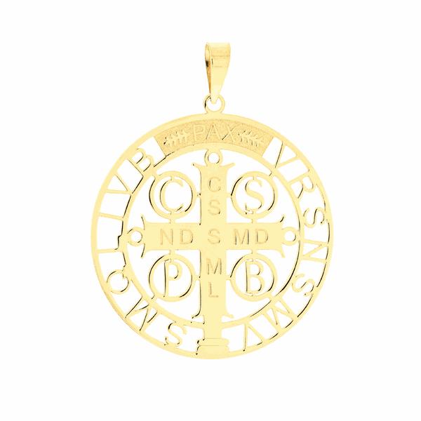 Pingente Cruz de São Bento em Ouro 18K Grande