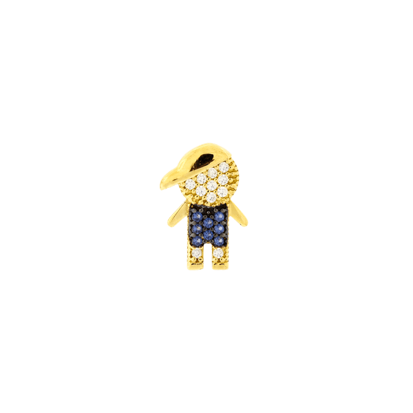 Pingente de Ouro 18K Menino com Pedras Zirconias Azuis