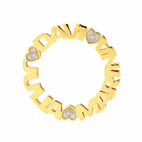 Pingente Mandala com Três Nomes em Ouro 18K