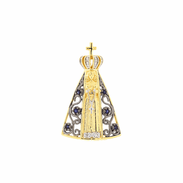 Pingente Nossa Senhora Aparecida de Ouro 18K Vazada com Pedras