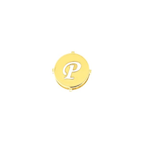 Pingente de Ouro 18K Letra P Redondo
