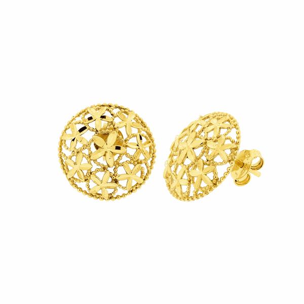 Brinco de Ouro 18K Redondo Flores Diamantado