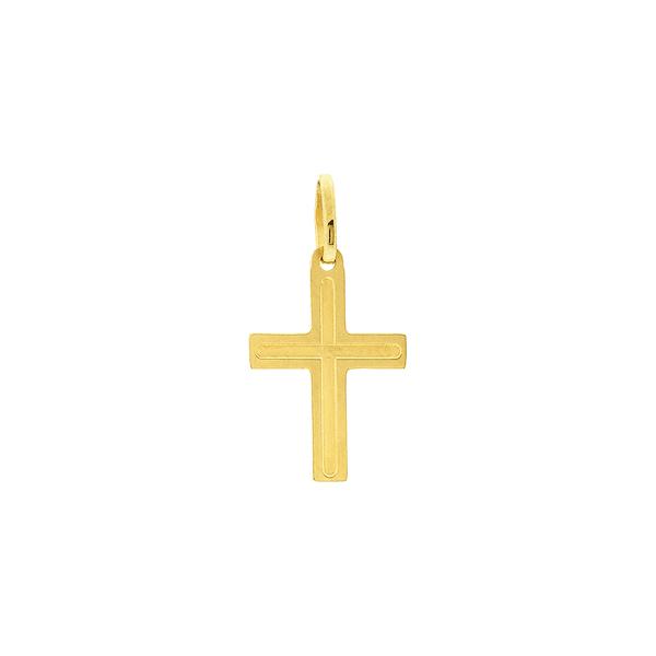 Pingente de Ouro 18K Cruz Polida com Relevo