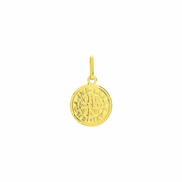 Pingente de Ouro 18K Medalha de São Bento Pequeno 9mm