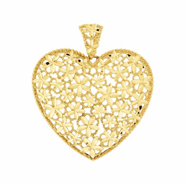 Pingente de Ouro 18K Coração Flores Diamantado Grande
