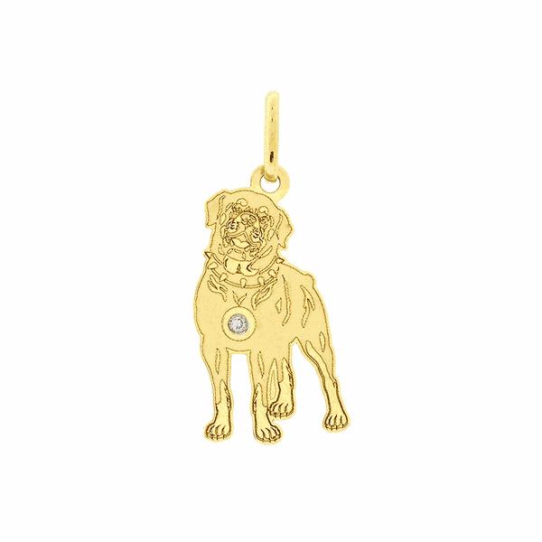 Pingente de Ouro 18K Cachorro Rottweiler com Brilhante