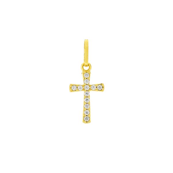 Pingente de Ouro 18K Cruz com Pedras de Zircônia