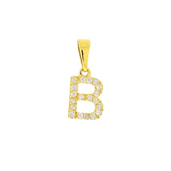 Pingente de Letra B de Ouro 18K com Brilhantes
