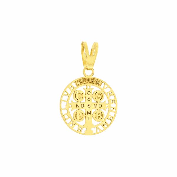 Pingente Cruz São Bento em Ouro 18K Tamanho Pequeno 1,2cm