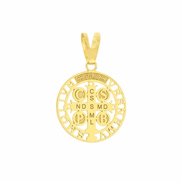 Pingente Cruz São Bento em Ouro 18K Tamanho Pequeno 1,5cm