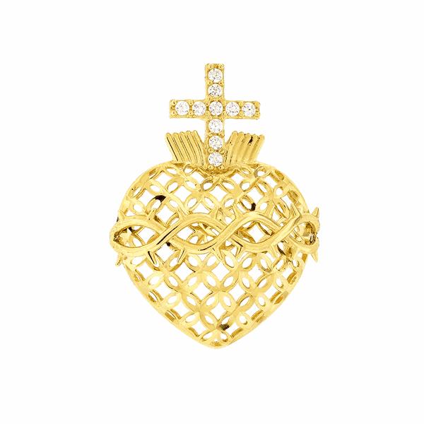 Pingente Sagrado Coração de Jesus em Ouro 18K Grande