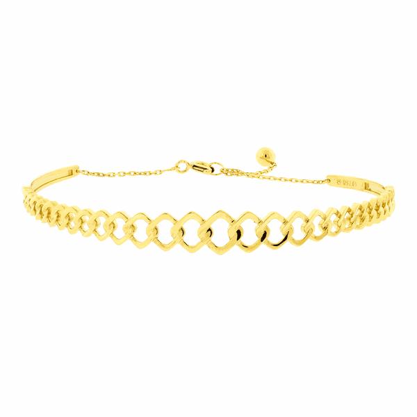 Bracelete de Ouro Amarelo 18K Elos Quadrados