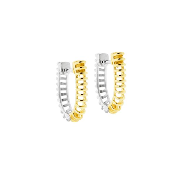 Brinco Espiral Bicolor Ouro 18K