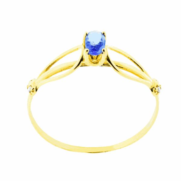 Anel em Ouro 18K Solitário com Pedra de Zircônia Azul