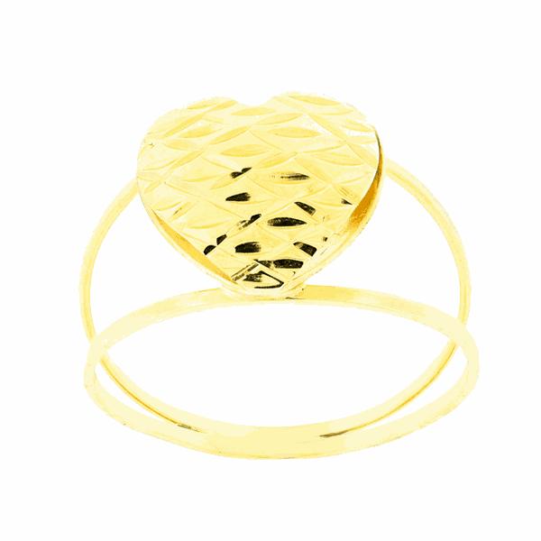 Anel de Coração Trabalhado Ouro 18K