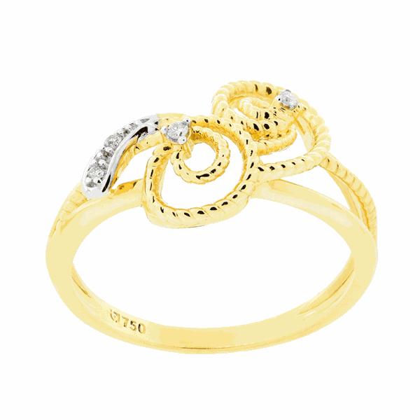 Anel Trabalhado Delicado com Diamantes Ouro 18K