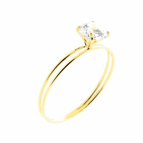 Anel de Ouro 18K Solitário com Pedra de Zircônia