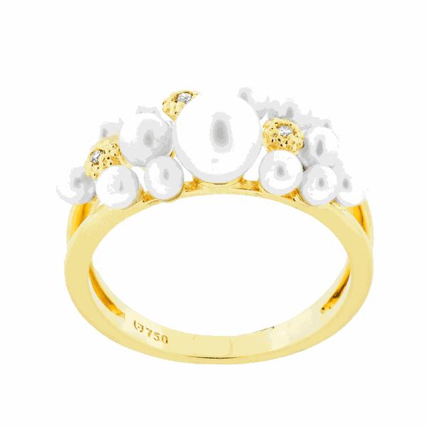 Anel de Pérolas com Diamantes Ouro 18K