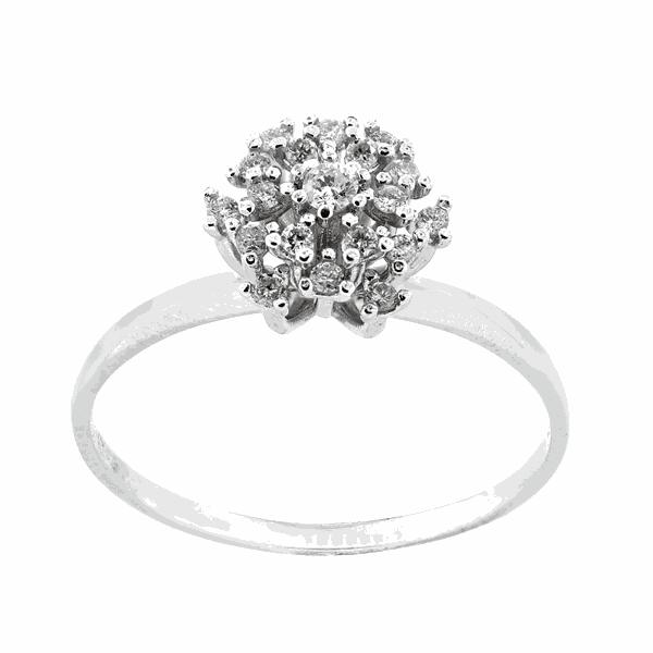 Anel Buquê de Diamantes em Ouro Branco 18K
