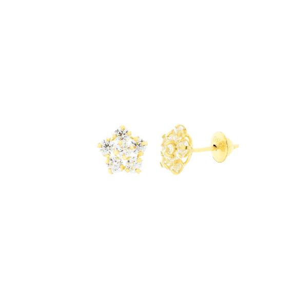 Brinco de Ouro 18K Infantil Flor de Zirconias