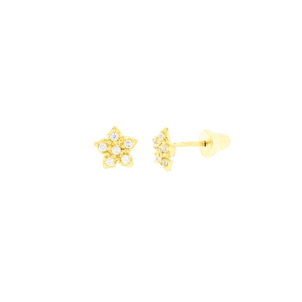 Brinco de Ouro 18K Infantil Estrela com Zirconias