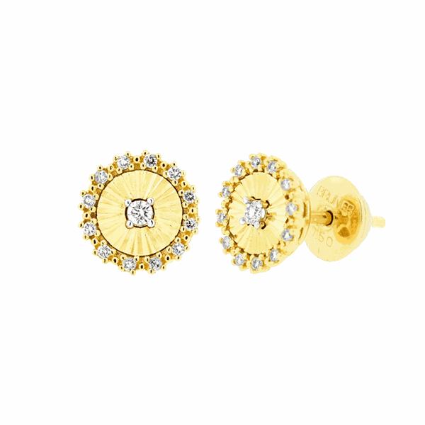 Brinco Círculo Diamantado com Diamantes Ouro 18K