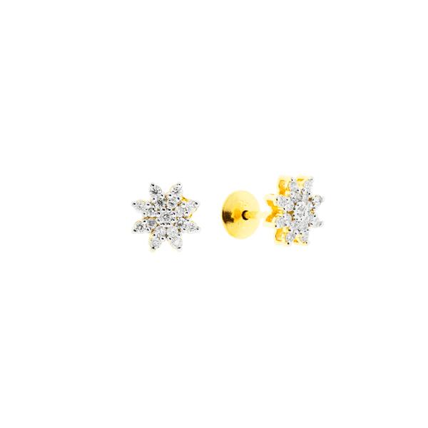 Brinco Pequeno Flor com Brilhantes Ouro 18K