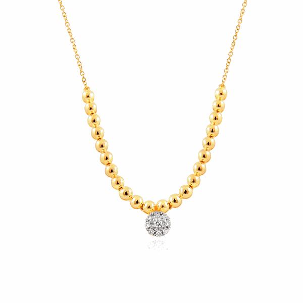 Gargantilha de Ouro 18K Bolinhas com Pedras de Brilhante