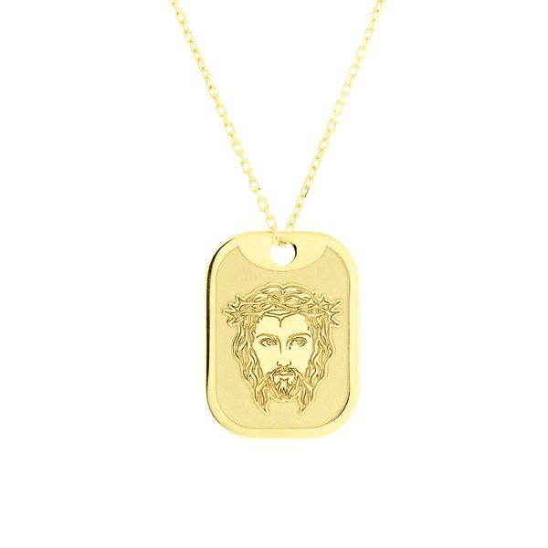 Placa Face de Cristo e Pai Nosso com Corrente de Ouro 18K