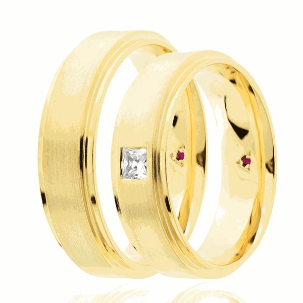 Par de alianças Eternn com Diamante Ouro 18K - Linha Essência
