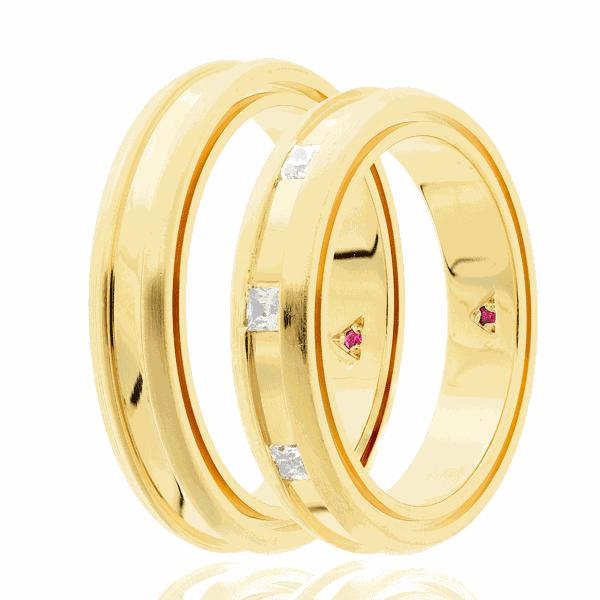 Par de alianças Eternn com Diamante Ouro 18K - Linha Tríade