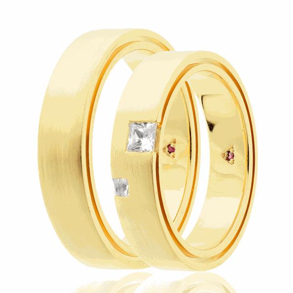 Par de alianças Eternn com Diamante Ouro 18K - Linha Una
