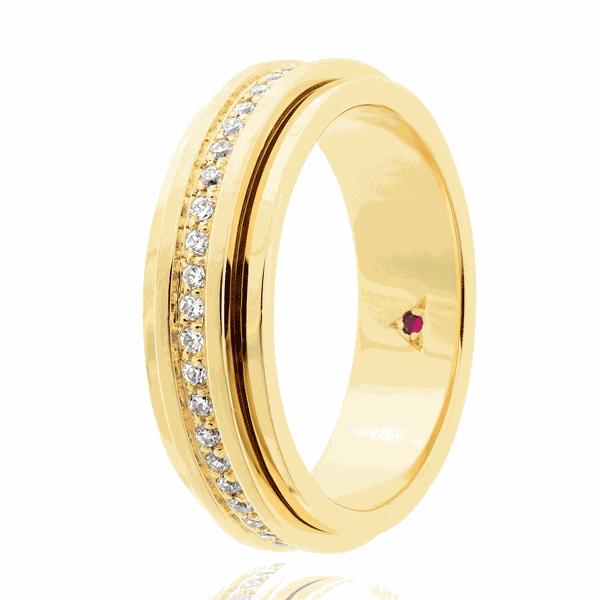 Aliança Eternn com Diamante Ouro 18K - Linha Eterna