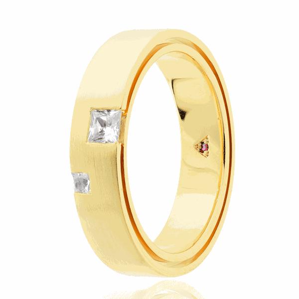 Aliança Eternn com Diamante Ouro 18K - Linha Una