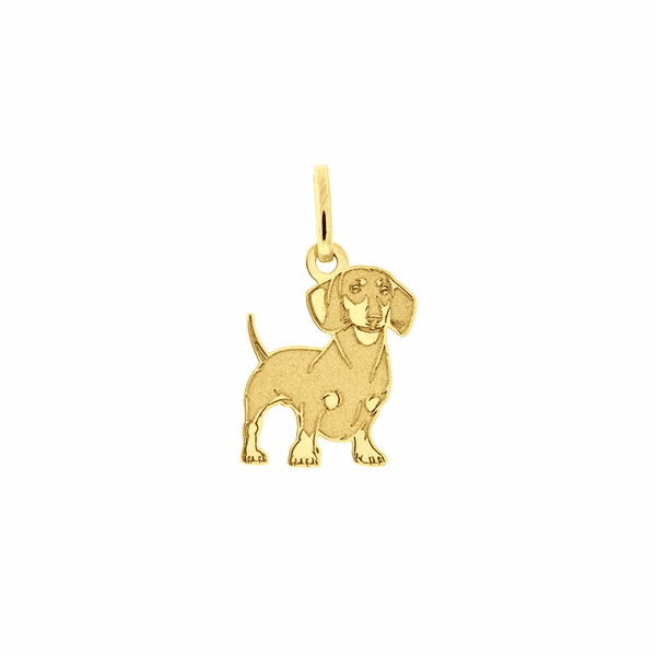 Pingente Ouro 18K Cachorro Dachshund Detalhe Fosco Pequeno