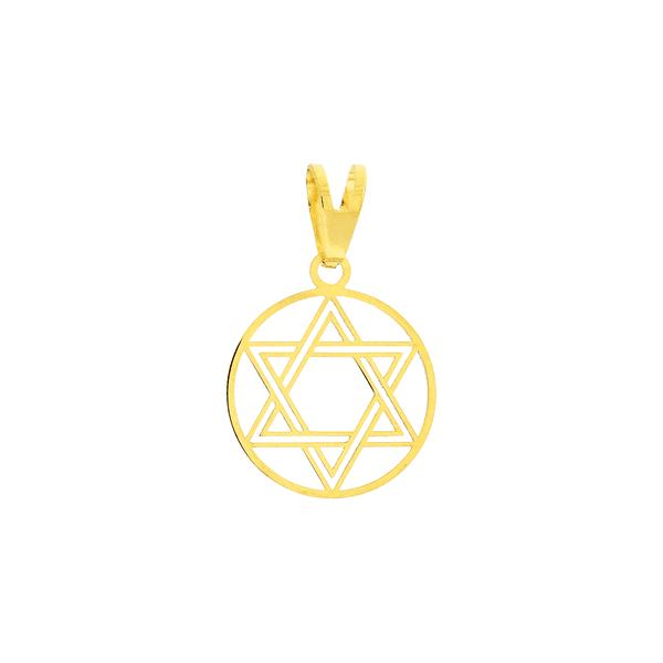 Pingente Estrela de Davi Ouro 18K Círculo Vazado 1,2cm