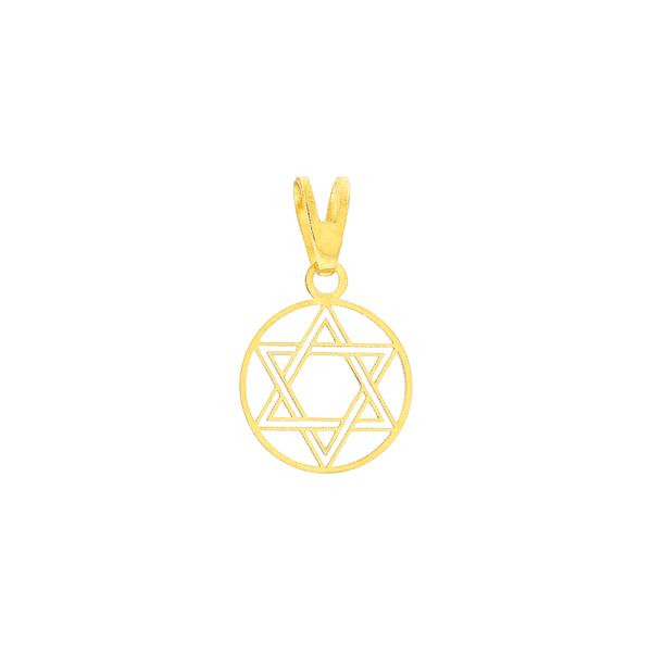 Pingente Estrela de Davi Ouro 18K Círculo Vazado 1cm