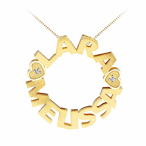 Pingente Mandala com Dois Nomes em Ouro 18K