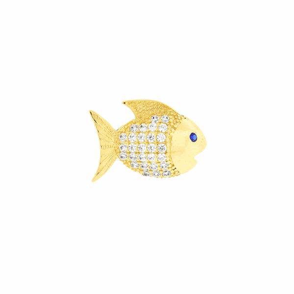 Pingente de Ouro 18K Peixe com Zirconias Brancas