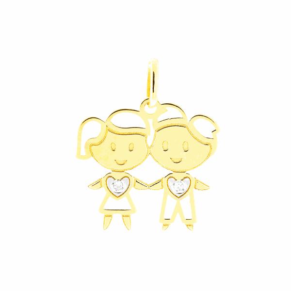 Pingente de Ouro 18K Casal de Filhos Menino e Menina