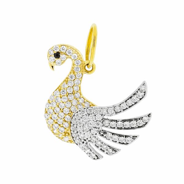 Pingente Cisne com Zirconias Ouro 18K