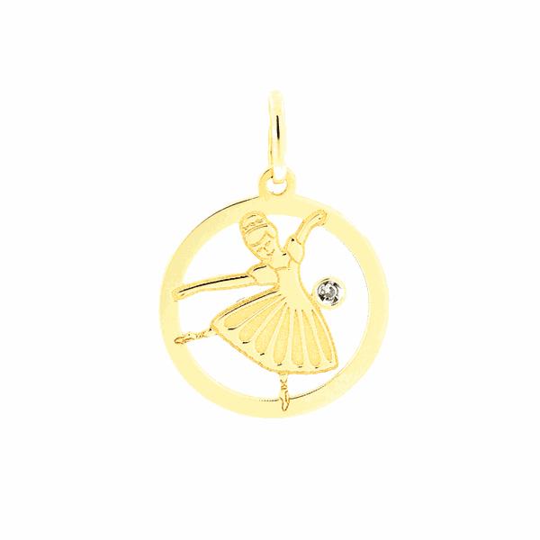 Pingente Bailarina com Brilhante em Ouro 18K